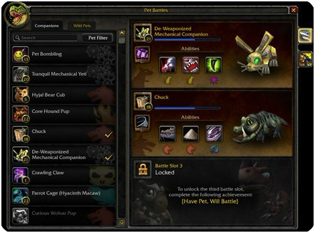 Pets battle system of Mists of Pandaria